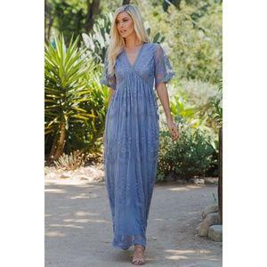 Blue Lace Mesh Overlay Maxi Dress